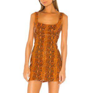 GRLFRND Romi Mini Dress in Orange Snake M